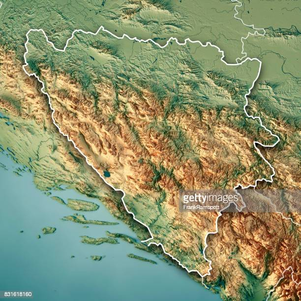 Bosnia And Herzegovina Country 3D Render Topographic Map Border