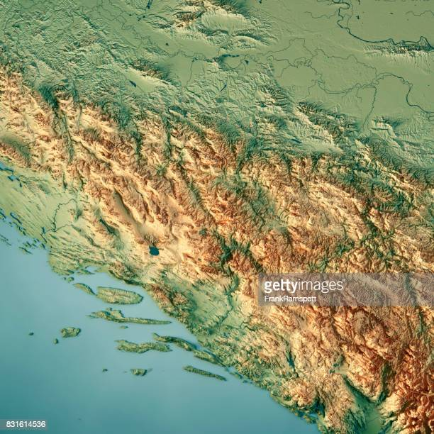 Bosnia And Herzegovina Country 3D Render Topographic Map