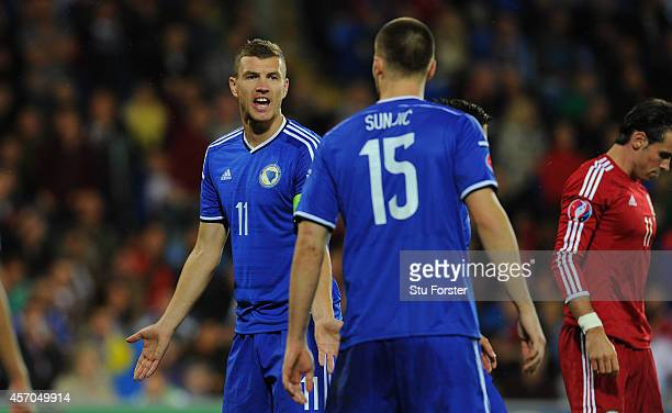 Bosnia and Herzegovina player Edin Dzeko makes a point during the EURO 2016 Qualifier match between Wales and Bosnia and Herzegovina at Cardiff City...