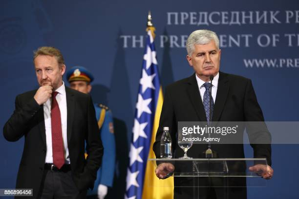 Bosnia and Herzegovina Presidency Chairman Dragan Covic and Bosnian Leader Bakir Izetbegovic hold a joint press conference following their meeting...