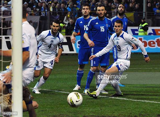 Bosnia and Herzegovina's defenders Emir Spahic and Ognjen Vranjes try to score during a World Cup 2014 qualifying football match Bosnia and...