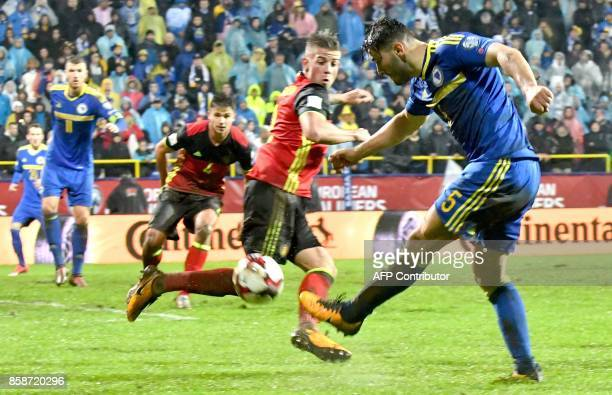 Bosnia and Herzegovina's Sead Kolasinac shoots during the FIFA World Cup 2018 qualification football match between Bosnia and Herzegovina and Belgium...