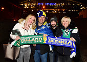 Bosnia fans pose for pictures before the Euro 2016 playoff second leg match between the Republic of Ireland and BosniaHerzegovina at Aviva Stadium on...