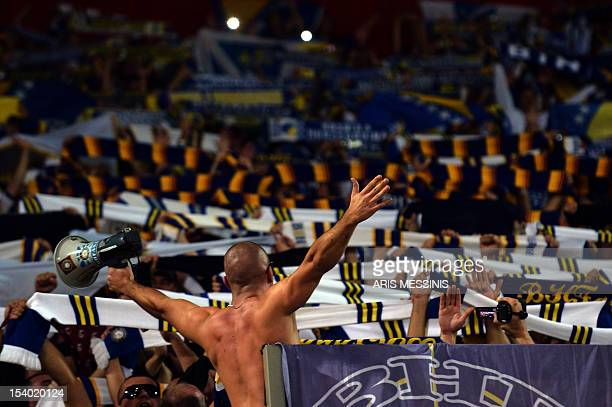 Bosnia Herzegovina's supporters cheer during a 2014 World Cup qualification football game against Greece in Athens on October 12 2012 AFP PHOTO /...
