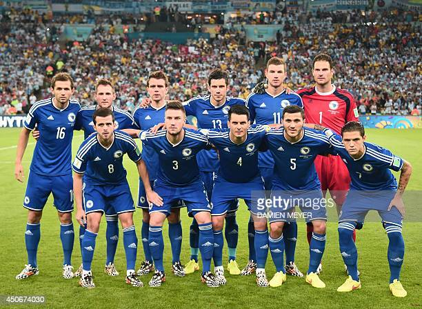 BosniaHercegovina's team BosniaHercegovina's midfielder Senad Lulic BosniaHercegovina's midfielder Izet Hajrovic BosniaHercegovina's midfielder...