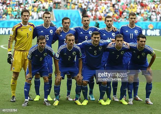 BosniaHerzegovina's goalkeeper Asmir Begovic defender Toni Sunjic midfielder Anel Hadzic forward Vedad Ibisevic midfielder Tino Sven Susic forward...