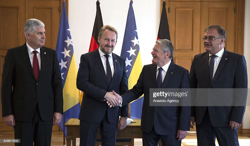 Bosniak Member of the Presidency of Bosnia and Herzegovina Bakir Izetbegovic (2nd L), Serbian Member of the Presidency of Bosnia and Herzegovina Mladen Ivanic (R) and Croat Member of the Presidency of Bosnia and Herzegovina Dragan Covic (L) meet with President of Germany Joachim Gauck (2nd R) during their official visit at the Schloss Bellevue in Berlin, Germany on June 30, 2016.
