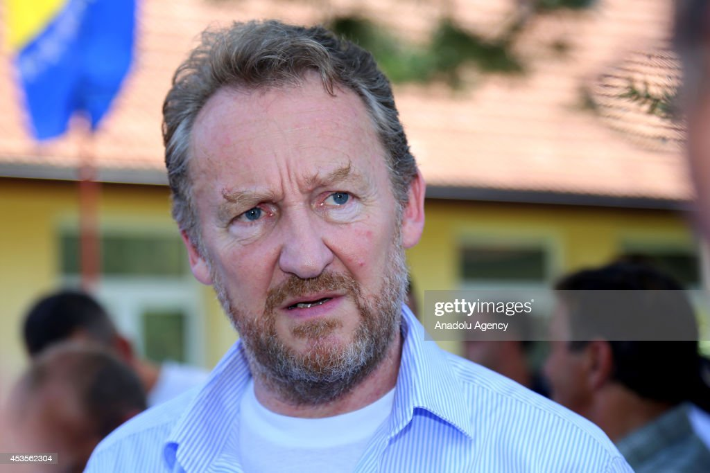 Bosniak member of the three-membered presidency council of Bosnia and Herzegovina, Bakir Izzetbegovic visits flooded city Jelyezno Polye, Bosnia and Herzegovina on 13 August, 2014.