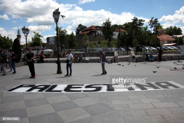 Bosniak Muslim stage a demonstration against Israel's restrictions on Al Aqsa Mosque Compound after performing Friday Prayer Novi Pazar Serbia on...