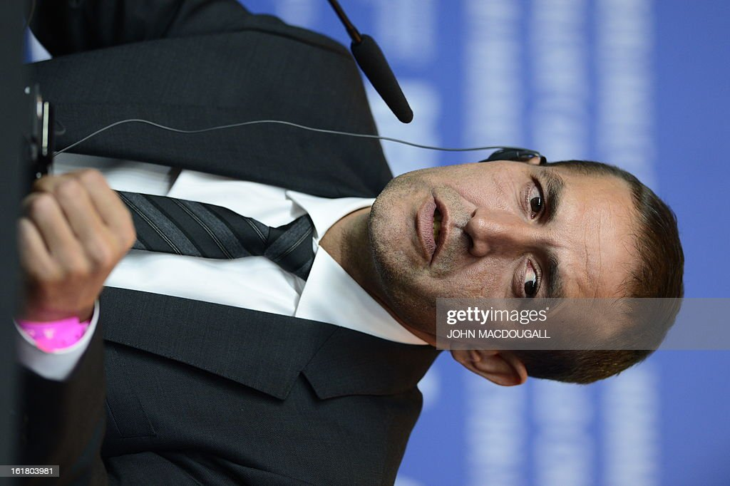 Bosnian actor Nazif Mujic, awarded with the Silver Bear for Best Actor for the film 'Epizoda u zivotu beraca zeljeza' (An episode in the life of an iron picker), attends a press conference following the 63rd Berlinale awards ceremony in Berlin on February 16, 2013.