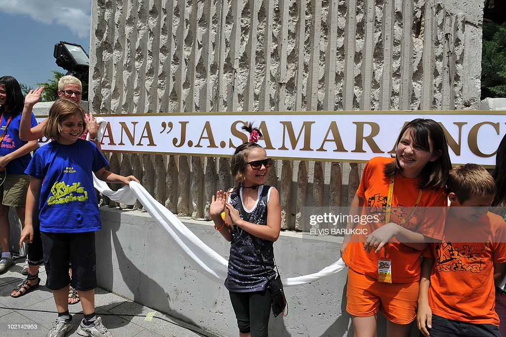 Bosnian children unveil the plaque with new name of the Sarajevo Olympic Sports Hall, in Sarajevo, on June 16, 2010. The hall has been named 'Juan Antonio Samaranch', honoring late Juan Antonio Samaranch, ex-president of The International Olympic Commitee. Samaranch is considered a great friend of Sarajevo who contributed a great deal to bring the 14th Winter Olympic Games to Bosnian capital, in 1984. Samaranch died in Spain, in April 2010.