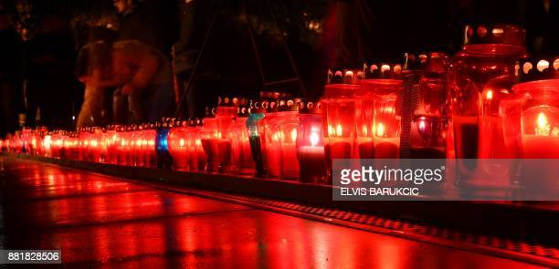 Bosnian Croats and residents of Mostar light candles in in tribute to General Slobodan Praljak on November 29 after Bosnian Croat war criminal took...