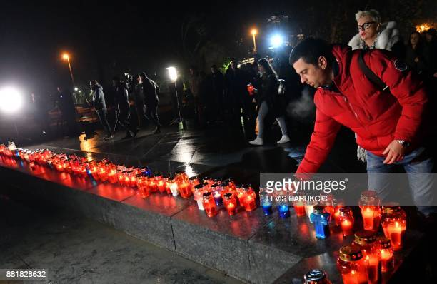 Bosnian Croats and residents of Mostar light candles in in tribute to General Slobodan Praljak in Mostar on November 29 after Bosnian Croat war...