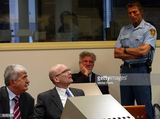 Bosnian Croats Bruno Stojic former Foreign Minister of Bosnia Herzegovina Jadranko Prlic and General Slobodan Praljak make their initial appearance...