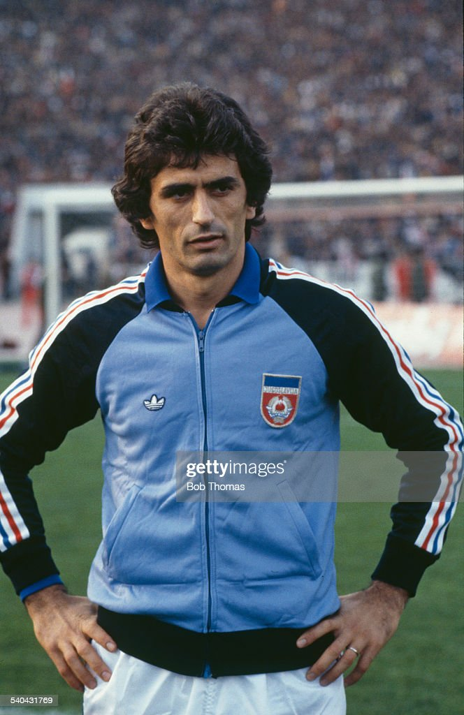 Bosnian footballer <a gi-track='captionPersonalityLinkClicked' href=/galleries/search?phrase=Vahid+Halilhodzic&family=editorial&specificpeople=777212 ng-click='$event.stopPropagation()'>Vahid Halilhodzic</a> of the Yugoslavian national team, circa 1980.