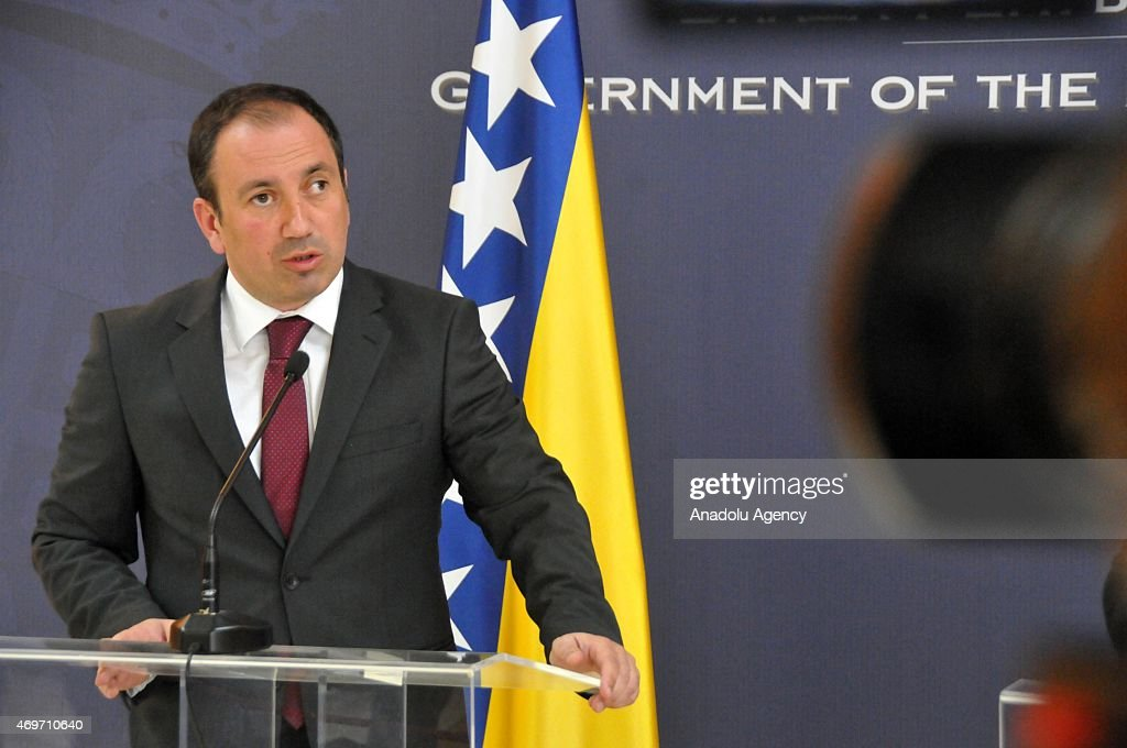 Bosnian Foreign Minister Igor Crnadak holds a joint press conference with Serbian Foreign Minister <a gi-track='captionPersonalityLinkClicked' href=/galleries/search?phrase=Ivica+Dacic&family=editorial&specificpeople=5427949 ng-click='$event.stopPropagation()'>Ivica Dacic</a> (not seen) in Belgrade, Serbia on April 14, 2015.