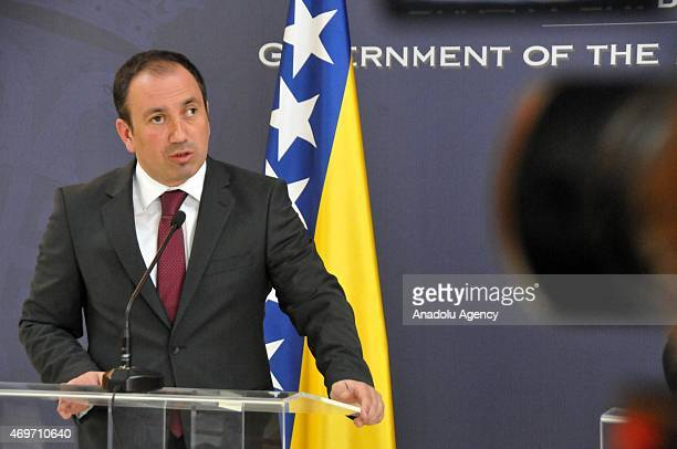 Bosnian Foreign Minister Igor Crnadak holds a joint press conference with Serbian Foreign Minister Ivica Dacic in Belgrade Serbia on April 14 2015
