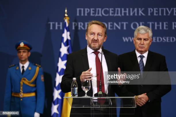 Bosnian Leader Bakir Izetbegovic and Bosnia and Herzegovina Presidency Chairman Dragan Covic hold a joint press conference following their meeting...
