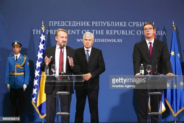 Bosnian Leader Bakir Izetbegovic holds a joint press conference with Bosnia and Herzegovina Presidency Chairman Dragan Covic following their meeting...