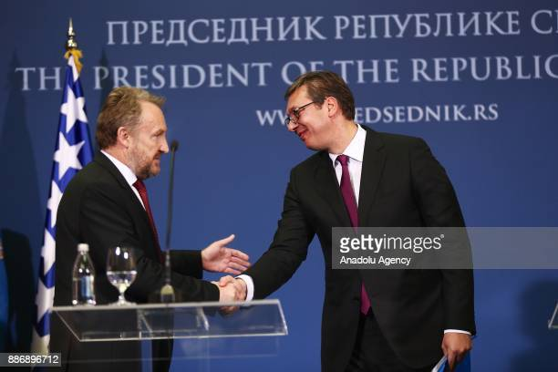 Bosnian Leader Bakir Izetbegovic holds a joint press conference with following their meeting with Serbian President Aleksandar Vucic after their...
