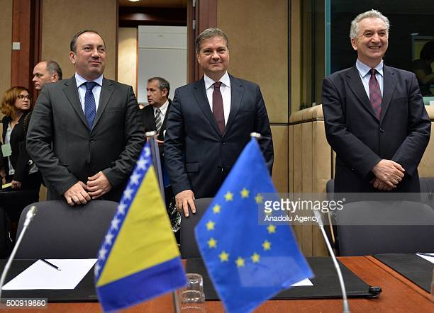 Bosnian Prime Minister Denis Zvizdic and Bosnian Minister of Foreign Trade and Economic Relations Mirko Sarovic attend the first EUBosnia and...