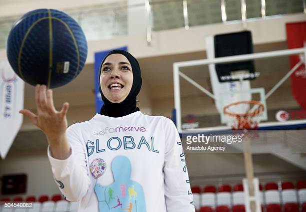 Bosnian professional basketball player Indira Kaljo who received approval from FIBA to wear her headscarf during the matches poses ahead of an...