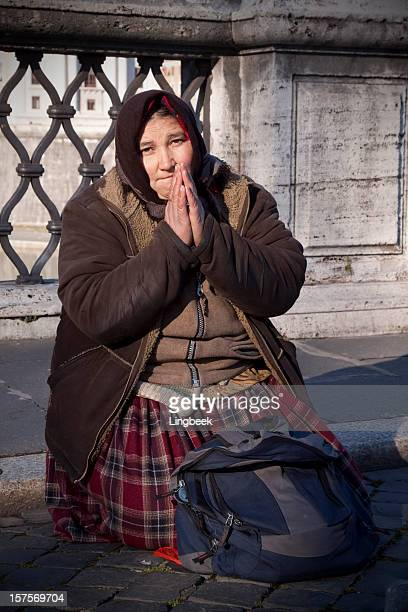 Bosnian refugee begging in Italy
