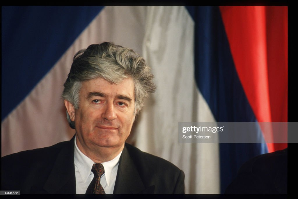 Bosnian Serb leader <a gi-track='captionPersonalityLinkClicked' href=/galleries/search?phrase=Radovan+Karadzic&family=editorial&specificpeople=730778 ng-click='$event.stopPropagation()'>Radovan Karadzic</a> speaks at a press conference October 20, 1995 in Novi Grad, Bosnia and Herzegovnia. Karadzic, who fought the mainly Muslim government in the former Yugoslav republic of Bosnia and Herzegovina from 1992 to 1995, was indicted by an international war crimes tribunal for the massacre of Muslim and Croat civilians during the civil war.