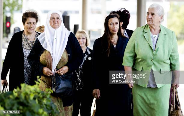 Bosnian women from the 'Srebrenica Mothers Association' arrive at the Court of Justice for the verdict in a higher appeal against the Dutch State in...