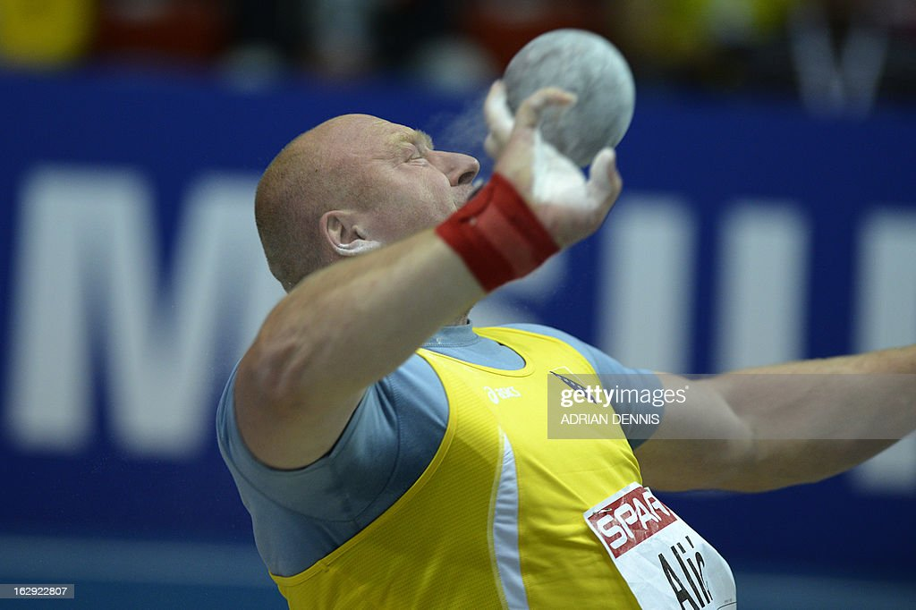 Bosnia's Hamza Alic competes to place second in the final of the men's Shot Put event at the European Indoor Championships in Gothenburg, Sweden, on March 1, 2013. AFP PHOTO / ADRIAN DENNIS