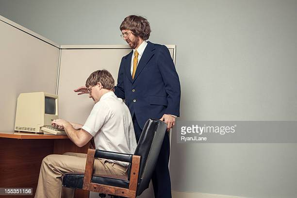 Boss Lectures in Eighties Style Office Cubicle