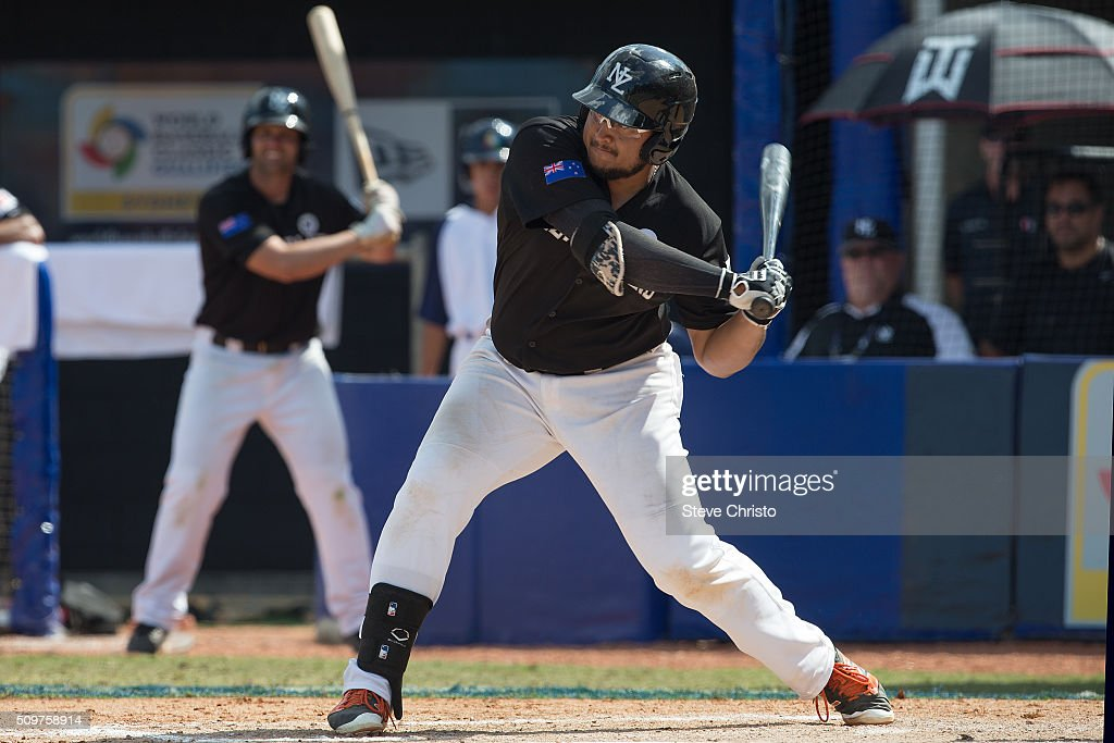 Boss Moanaroa #8 of team New Zealand bats during Game 3 of the World Baseball Classic Qualifier against Team Philippines at Blacktown International Sportspark on Friday, February 12, 2016 in Sydney, Australia.