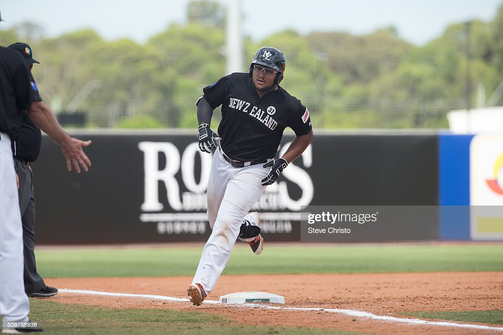 Boss Moanaroa #8 of Team New Zealand rounds the bases after hitting a home run during Game 3 of the World Baseball Classic Qualifier against Team Philippines at Blacktown International Sportspark on Friday, February 12, 2016 in Sydney, Australia.