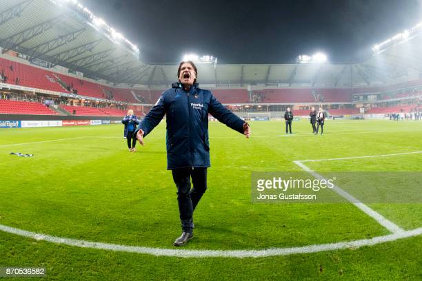 Bosse Andersson of Djurgardens IF celebrates after the victory during the allsvenskan match between Kalmar FF and Djurgarden IF at Guldfageln Arena...