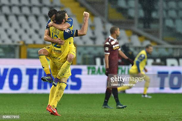 Bostjan Cesar and Ivan Radovanovic of AC Chievo Verona celebrate victory at the end of the Serie A match between Torino FC and AC Chievo Verona at...