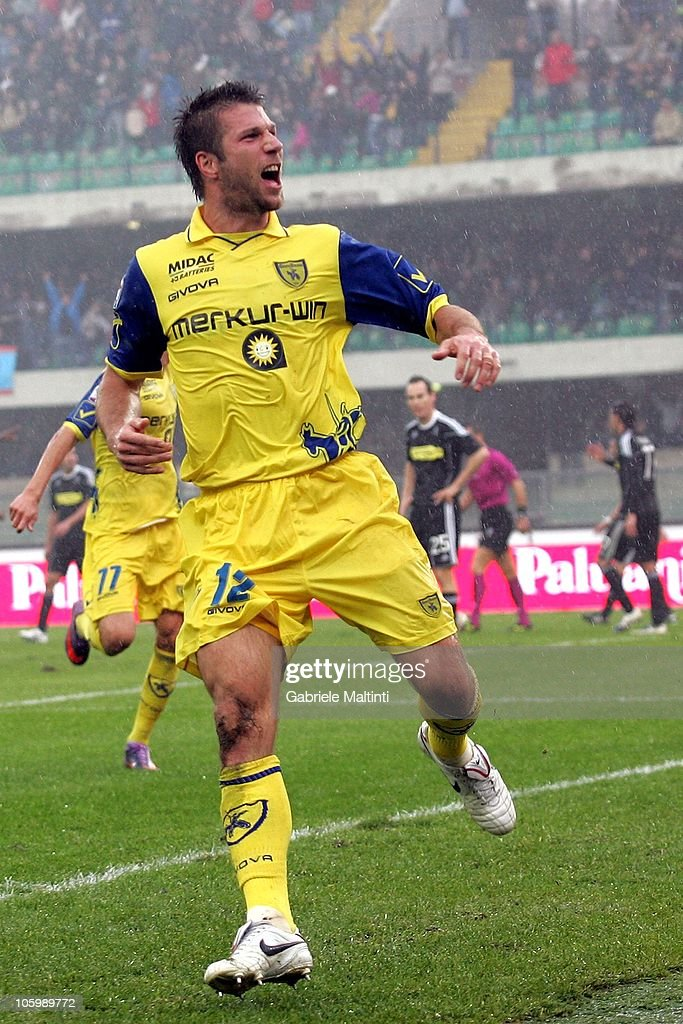 <a gi-track='captionPersonalityLinkClicked' href=/galleries/search?phrase=Bostjan+Cesar&family=editorial&specificpeople=2084483 ng-click='$event.stopPropagation()'>Bostjan Cesar</a> of AC Chievo Verona celebrates after scoring the opening goal during the Serie A match between AC Chievo Verona and AC Cesena at Stadio Marc'Antonio Bentegodi on October 24, 2010 in Verona, Italy.