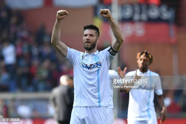Bostjan Cesar of AC ChievoVerona celebrates victory at the end of the Serie A match between Genoa CFC and AC ChievoVerona at Stadio Luigi Ferraris on...