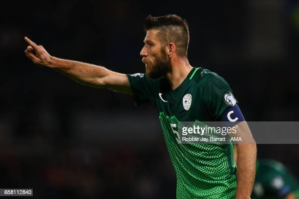 Bostjan Cesar of Slovenia during the FIFA 2018 World Cup Qualifier between Scotland and Slovenia at Hampden Park on March 26 2017 in Glasgow Scotland
