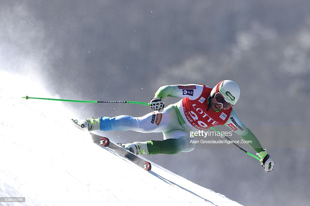 Bostjan Kline of Slovenia competes during the Audi FIS Alpine Ski World Cup Men's Super G on January 07, 2016 in Jeongseon, South Korea.