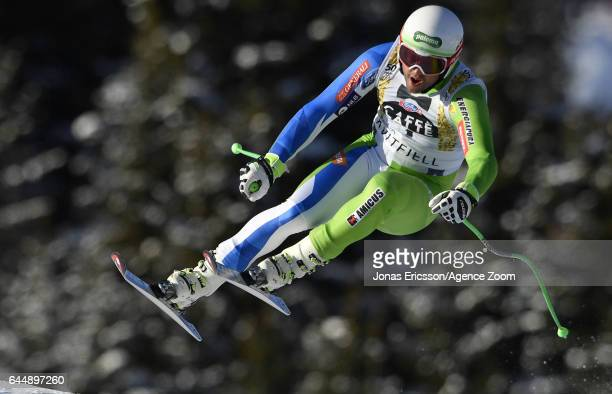 Bostjan Kline of Slovenia competes during the Audi FIS Alpine Ski World Cup Men's Downhill on February 24 2017 in Kvitfjell Norway