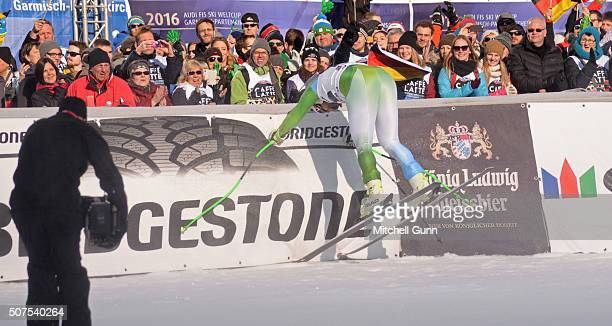 Bostjan Kline of Slovenia crashes in the finish area of the Audi FIS Alpine Ski World Cup Downhill on January 30 2016 in GarmischPartenkirchen Germany