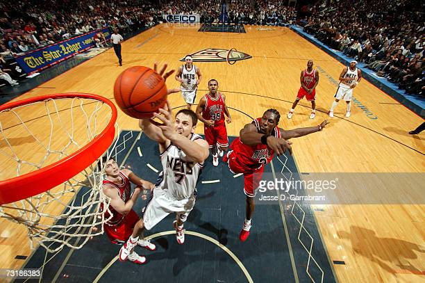 Bostjan Nachbar of the New Jersey Nets shoots against the Chicago Bulls on January 5 2007 at the Continental Airlines Arena in East Rutherford New...