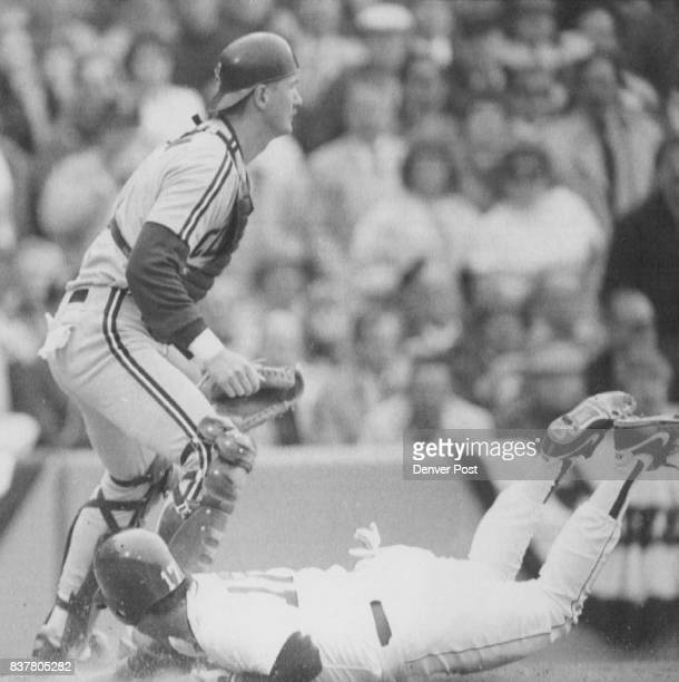 Obie Harvey Boston April 10 Belly Flop Score Boston Red Sox Marty Barrett Slides into home to Score o a Jim Rice Single as Cleveland Indians Catcher...