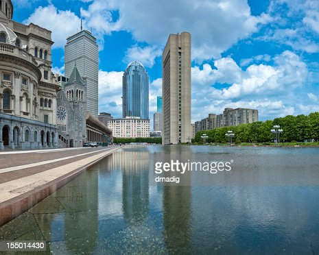 Boston Back Bay Towers Reflecting in Christian Science Center Pool