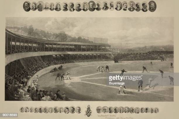 Boston Beaneaters team playing at South End Grounds as spectators watch from the grandstand inset with photographic portraits of baseball players and...