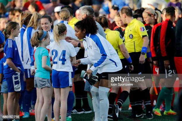 Boston Breakers goalkeeper Abby Smith talks with fans before the tams take the field during an NWSL regular season match between the Boston Breakers...