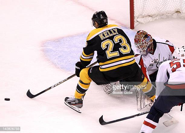 Boston Bruins center Chris Kelly had Washington Capitals goalie Braden Holtby beat and an open net but a poke check by a Washington Capitals...