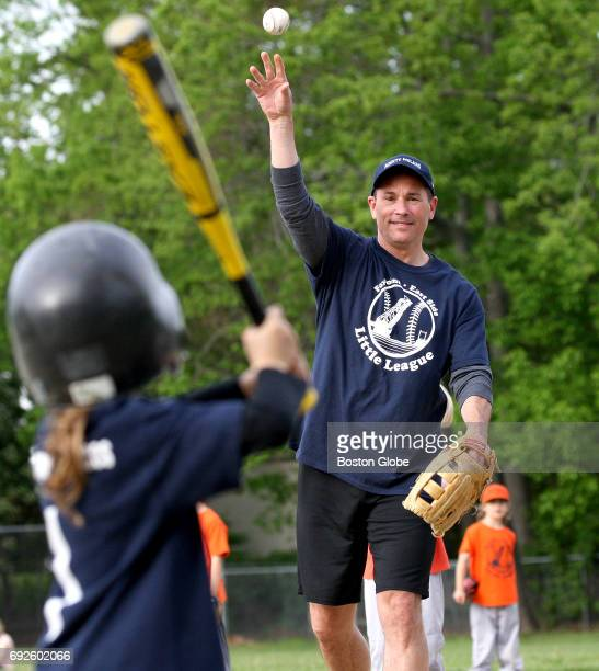 Boston Bruins coach Bruce Cassidy pitches for the Mighty Molars youth baseball team during a game in Providence RI on May 23 2017 The team is an AA...