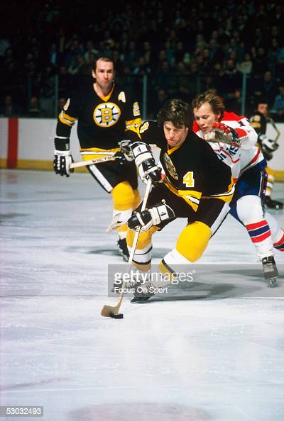 Boston Bruins' defenceman Bobby Orr carries the puck against the Washington Capitals during a game at Capital Centre circa 1970's in Washington DC