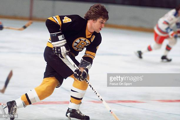 Boston Bruins' defenceman Bobby Orr carries the puck against the Washington Capitals during a game at Capital Centre circa the 1970's in Washington DC
